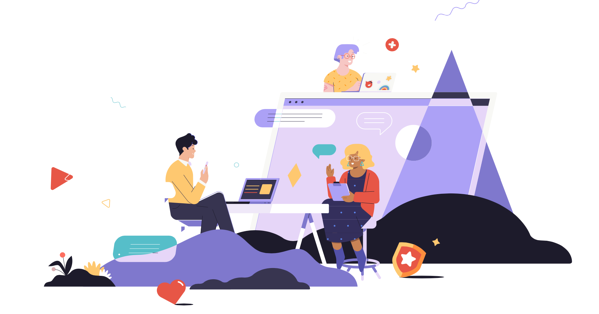 Culture Shift illustration with three individuals working in technology with laptops and abstract icons.